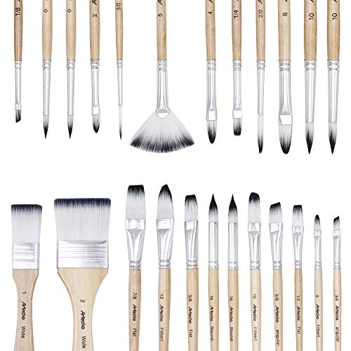 Artecho Art Paint Brushes Set for Watercolor, Acrylic, Oil, Rock Painting, Nail Brush, 24 Different Sizes with Organizing Case for Artists, Adults & Kids