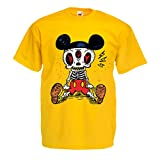 lepni.me Camisetas Hombre Esqueleto de un ratón (Large Amarillo Multicolor)
