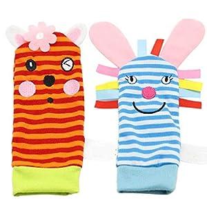 ZHANGNUO Sonajero para Bebé Juguetes Sonajero De Muñeca Y Calcetines De Pie Animal Cute Cartoon Baby Socks Sonajero Toys Blanco
