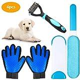 ZITFRI 4 Pcs Fusselbürste Tierhaare Haustier Bürsten für Kurze/Lange Hunde- und Katzenhaare inkl. Haarentferner Bürste + 1 Paar Bürste Handschuh + Fellpflegebürste, 4 in 1 Tierhaarentferner
