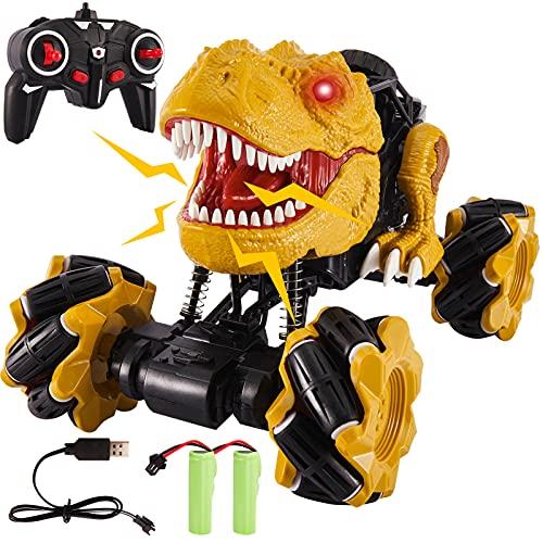 TOEY PLAY Dinosaurio Coche Teledirigido, 4WD Coche de Control Remoto 360° Rotación, Dinosaurio Juguete con Rugido y Luz, 2 Batería Recargable, Regalo para Niños