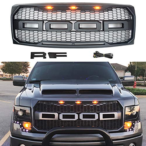 DOOd Compatible with Front Grille, Including XL, XLT, Lariat and FX4, Raptor Style Grille for F150 2009-2014,Replaceable Letters & Amber LED Lights,Matte Black