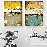 YuanMinglu Pintura al óleo Amarilla Abstracta Moderna sobre Lienzo póster e Imagen Mural Impresa decoración de la Sala Pintura sin Marco 30x45cm
