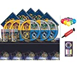 Harry Potter Party Pack Kids Birthday Vajilla Kit para 16 platos, tazas, servilletas, cubierta de mesa y globos gratis
