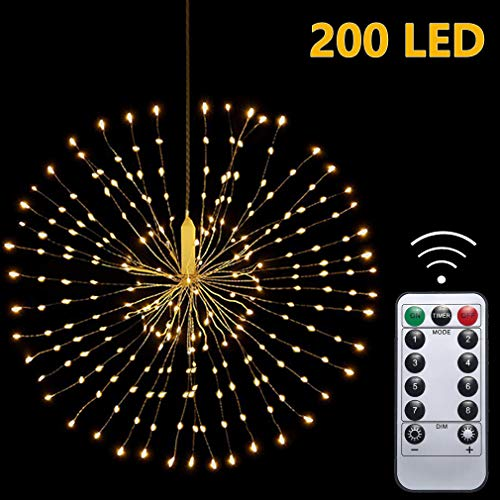 Hängend Feuerwerk Lichterketten 200 LED, IP65 Wasserdicht Kupferkabel, Batteriebetrieben, Kabellos Fernbedienung Blumenstrauß im Freienlicht zum Garten Terrasse Hochzeit Party Weihnachten (Warmweiß)
