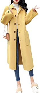 Macondoo Womens Pocket Single Breasted Autumn Winter Overcoat Long Jacket Coat