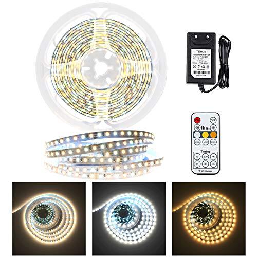 LED Band Lichterkette, 3m LED Strip Dimmbar 3000K Warmweiß & 6000K Kaltweiß lichtband, KWODE 12V LED Streifen mit Netzteil & Timer Fernbedienung für Decke, Küche, Schlafzimmer [ Neue 2020 Version ]