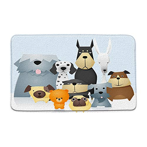 "Cartoon Dog Bath Mat, Cute Bulldog Puppy Animal Non-Slip Bathroom Rug Tub Shower Floor Carpet, Kids Pet Bath Rug, Absorbent Doormat Bedroom Rug Kitchen Toilet Floor, 19.7"" x 31.5"""