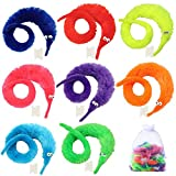 LYYXLL 64pcs Magic Worm Toys, Worm On a String Magic Fuzzy Worm Trick Toy Party Favors (8 Colors)