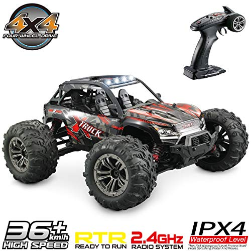 Hosim High Speed 36km/h 4WD 2.4Ghz Remote Control Truck 9137, 1:16 Scale Radio Conrtolled Off-Road RC Car Electronic Monster Truck R/C RTR Hobby Cross-Country Car Buggy (Red)