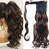 Extensiones de Clip de Pelo Natural Coleta Postiza Extensiones de Cabello Rizadas Ponytail Largo Clip in Hair Extension Cola Wrap Around (Marrón medio)