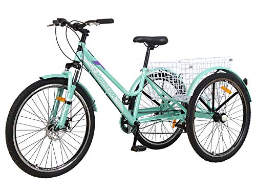 Slsy Adult Mountain Tricycle, 7 Speed Three Wheel Bike, 24/26 Inch Adults Trikes for Seniors with Shopping Basket, Exercise Men's Women's Tricycles