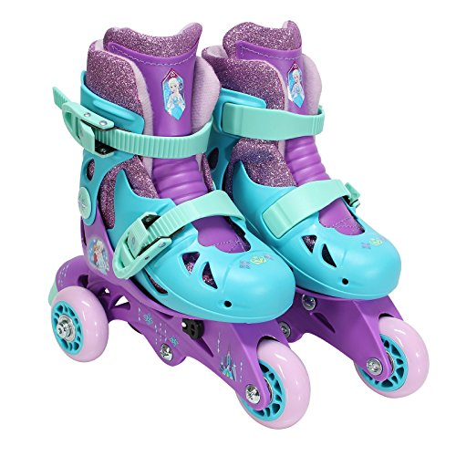 PlayWheels Frozen Glitter Convertible 2-in-1 Skates, Junior Size 6-9 , Purple Glitter