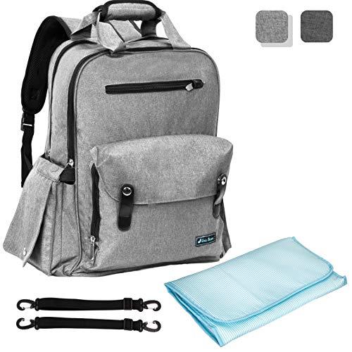 Baby Rucksack Wickeltasche | Große Kapazität Multifunktionale Reise Wickeltasche für Mama Papa mit Wickelunterlage, isolierte Taschen, Kinderwagengurte (hellgrau)