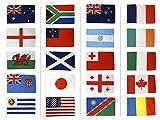 Digni Kit Drapeaux Coupe du Monde de Rugby 2015-30 x 45 cm Sticker Gratuit