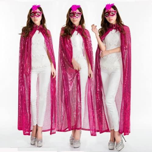 Capa de Halloween para mujeres y nias de longitud completa con lentejuelas capa mago cosplay fiesta disfraz de escenario de rendimiento Primp Props Navidad fiesta esencial traje brillante