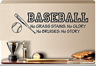 "Baseball No Grass Stains No Glory No Bruises No Story Baseball Bat Sports Vinyl Wall Decal Kids Room 8""x29"""
