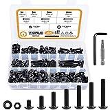 VIGRUE 305Pcs 1/4-20 Button Head Socket Cap Screw Bolts Nuts Washers Assortment Kit, Length 3/8' to 1-1/2', Full Machine UNC Thread, 12.9 Grade Alloy Steel, Black