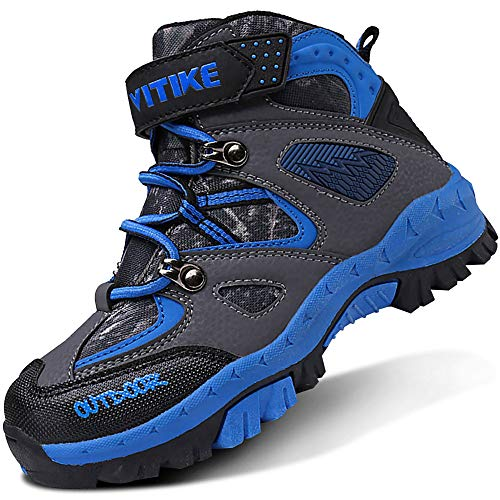 ASHION Kinder Winterschuhe Wanderschuhe Mid Schneestiefel Mädchen Trekkingl Stiefel Jungen Baumwollschuhe Warm Wanderstiefel(B Blau,38 EU)