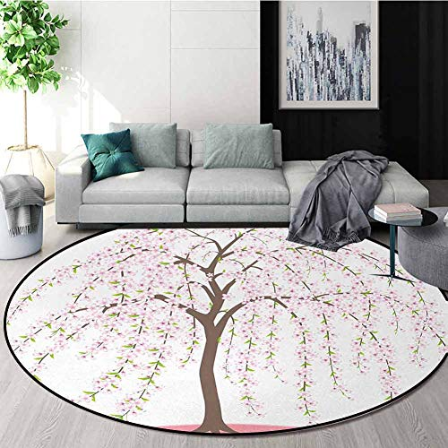 Best Price Weeping Flower Round Rug Kid Carpet,Traditional Japanese Sakura Tree Burst Into Flowers O...