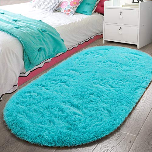 LOCHAS Luxury Velvet Fluffy Carpet Soft Children Rugs Room Mat Modern Shaggy Area Rug for Bedroom Bedside Home Decor 2.6' x 5.3', Turquoise Blue