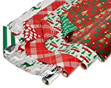 American Greetings Reversible Christmas Wrapping Paper, Stripes, Polka Dots, Plaid, Reindeer, Christmas Trucks and Trees (4 Pack, 120 sq. ft.)