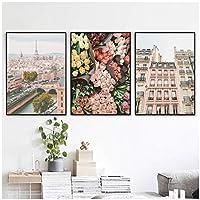 """風景キャンバス絵画、街並みブーケ壁アートポスターとプリント、リビングルームの家の装飾15.7"""" X 23.6""""(40x60cm)フレームなし3個"""