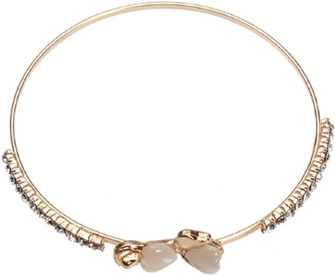 Opal Hearts Crystal Love Bowknot Gold Plated Cuff Bracelet by 24/7 store