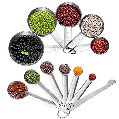 kuou 12 Pieces Measuring Cups and Spoons Set, Premium Stackable Stainless Steel Measuring Tools Measuring Spoons with Leveler for Dry and Liquid Ingredient Cooking Baking