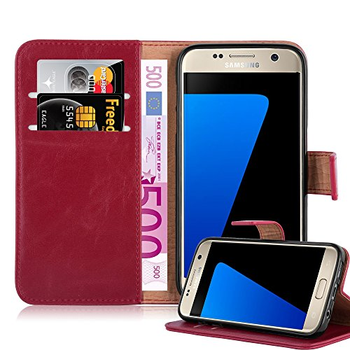 Cadorabo Hülle für Samsung Galaxy S7 in Wein ROT – Handyhülle mit Magnetverschluss, Standfunktion und Kartenfach – Case Cover Schutzhülle Etui Tasche Book Klapp Style