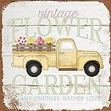 Blechschild im Vintage-Stil, Motiv: Blumen, Garten, LKW,