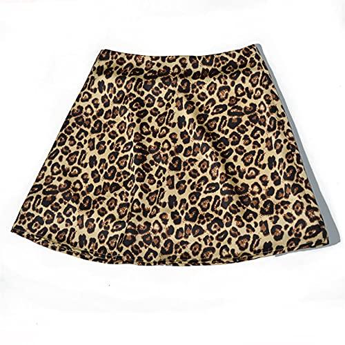 WXDSNH Falda con Estampado De SatéN De Cintura Alta Falda con Estampado De Leopardo