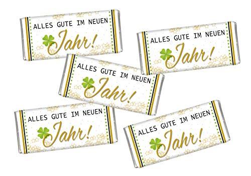 STEINBECK Silvester Neujahr 5 mal Mini Schokolade 2021 Geschenk Party Tischdekoration süß Mitgebsel Jahreswechsel Viel Glück Kleeblatt