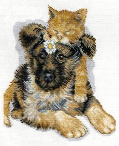 QGHMV DIY Kits de Punto de Cruz Estampado para Principiantes 11ct Cachorro y Gatito Bordado de Punto de Aguja Printed Kit de Punto de Cruz para Principiantes decoración del hogar