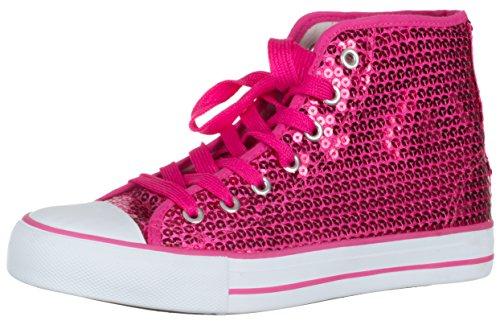 Brandsseller Damen Sneaker Pailletten Halbhoch/Damenschnürer/Damenboots - Farbe: Pink - Größe: 39