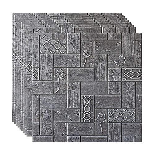 BROOE 3D Tridimensional, Panel de Pared de Espuma de PE Autoadhesivo Impermeable para decoración de Flores de Fondo de Sala de Estar y Dormitorio, 70 × 70Cm, Tipo 1