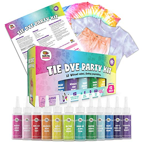 Doodlehog Easy Tie Dye Party Kit for Kids, Adults, and Groups. Create Vibrant Designs with Non-Toxic Dye. 12 Colors Included! Beginner-Friendly: Just Add Water! Dye up to 10 Medium Kids T-Shirts!