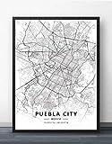 ZWXDMY Leinwand Bild,Mexiko Puebla Stadtplan Drucken