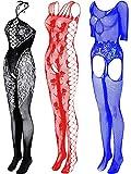3 Pieces Women Fishnet Dresses Mesh Lingerie Fishnet Hollow Fishnet Sleepwear for Women Daily Favor (Blue, Black, Red)