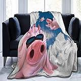 JOOCAR Mantas y mantas de franela manta para sofá/cama manta de felpa tres divertidos cerditos voladores de buceo de felpa mullida manta regalo para bebé niña niño papá mamá