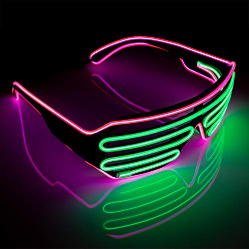 Neon Pink and Green Wire Shutter Shades for Adults with Battery Pack