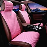 Red Rain Universal Seat Covers for Cars Leather Seat Cover Pink Car Seat Cover 2/3 Covered 11PCS Fit Car/Auto/Truck/SUV (A-Pink)