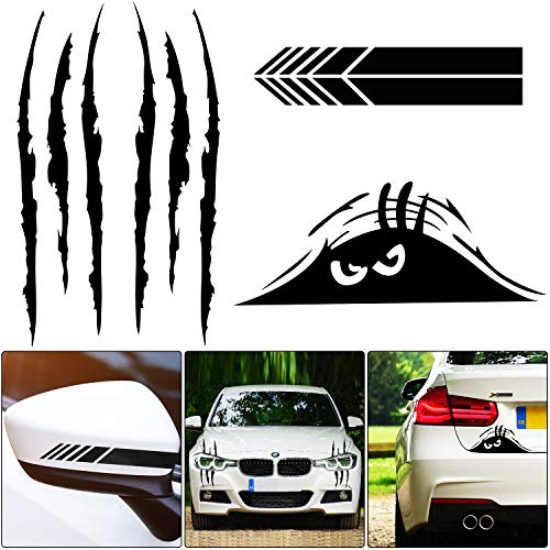 5 Pieces Car Sticker Decal Decoration Claw Mark Reflective Sticker Monster Scary Eye Car Decal Waterproof Self-Adhesive Vinyl Car Decal Sticker Rear View Mirror Sticker for Car Laptop Window (Black)