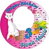 Tortenauflage Katzenfamilie, personalisiert mit Foto, Namen und Alter, rund -