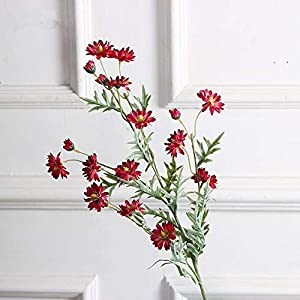 Artificial and Dried Flower 27inch Artificial Cosmos Flowers Silk Fake Bud Flowers Stamen Small Dutch Daisy for Wedding Holding Home Decor 13 Heads/Branch – ( Color: Lae274 Red )