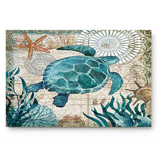 Coastal Blue Sea Turtle Nautical Map Doormat Welcome Mats Rugs Carpet Outdoor/Indoor for Home/Office/Bedroom, 18'x30'