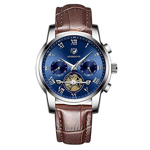 Relojes de Pulsera de Cuarzo analógicos con Fecha Impermeable de Cuero para Hombres-A