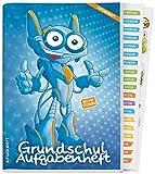 Hausaufgabenheft Grundschule A5 ohne Datumsbindung [Roboter] Aufgabenheft + Sticker, Lerntipps, spannendes Wissen, Lern- und Denkspiele! Nachhaltig & klimaneutral