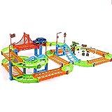 AIOJY Ensamblado del Coche de Carril del Tren del Juguete del Coche eléctrico Puzzle DIY de los niños del Coche de Carril, Regalo de cumpleaños for niños y niñas (Color : Verde)