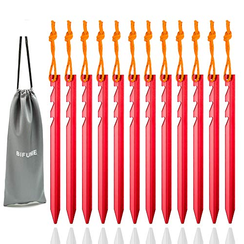 BIFUNIE Aluminum Tent Stakes Pegs, 12-Pack Aluminum Ground Pegs with Reflective Pull Ropes, Heavy Duty Tri-Beam Metal Stakes Pegs for Backpacking Camping Tents Hammocks and Canopy (Red)
